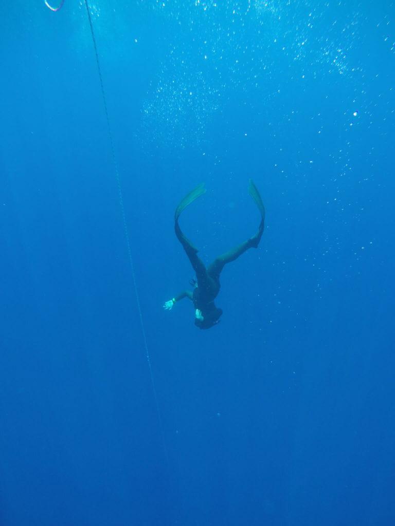 צולל חופשי תנועת סנפירים