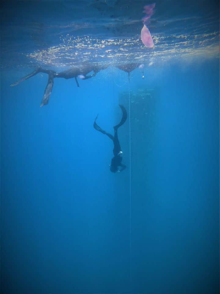 חליפת צלילה חופשית בפעולה